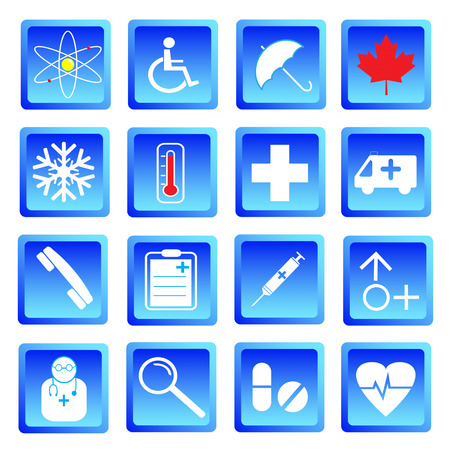 botton: Medical and science  icon set.Used as a button for web . Vector illustration