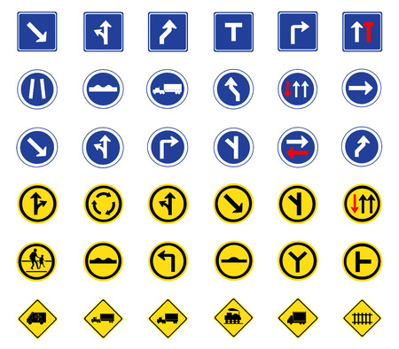 Vector illustration of traffic road sign collection