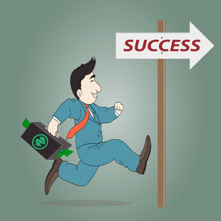 toward: Businessman running with a briefcase  toward successful sign Illustration