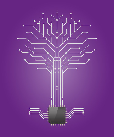 Circuit board pattern in the shape of the tree with chip processor root,Vetor illustration