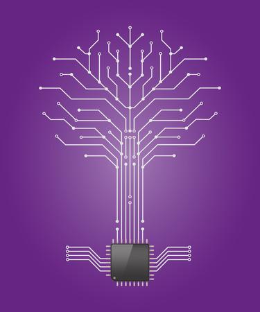 Circuito patrón junta en la forma del árbol con raíz de procesador de chip, Vetor ilustración