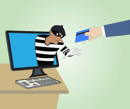 Business concept, Thief through the Internet from computer and Hand hold credit card Vector