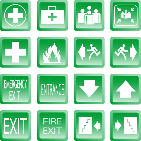 Button Green safety sign. Vector emergency exit signs set on green background Vector