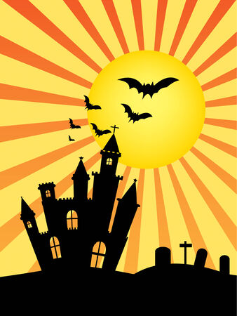 Castle silhouette and sun .Used as a background for Halloween. Vector illustration Vector
