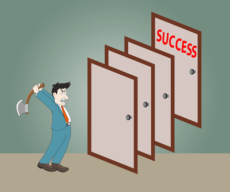 disrupt: Man holding axe to breaks  the door to success,Vector illustration