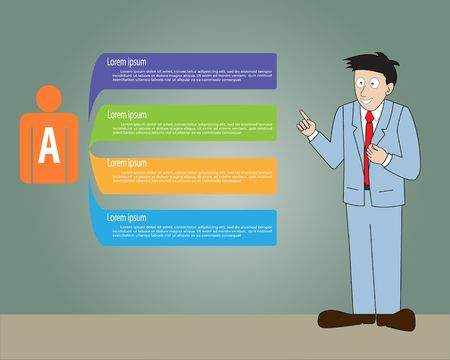 A Man wearing suit presentation with management method,Vector illustration Vector
