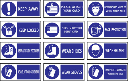 directives: Mandatory  signs , Construction health and safety sign used in industrial applications.