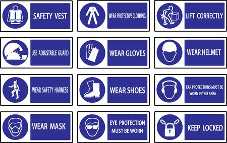 Gebotszeichen, Construction Gesundheit und Sicherheit Zeichen in industriellen Anwendungen eingesetzt. Vektorgrafik