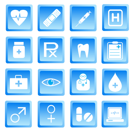 Medical and health icon set.Used as a button for web . Vector illustration Vector