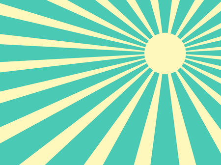 Vector background sun rays with white and green retro color Vector