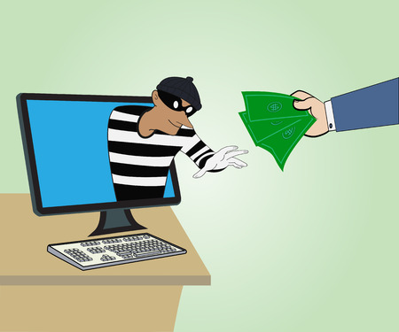 Business concept, Thief through the Internet from computer and Hand hold money,Vector illustration Vector