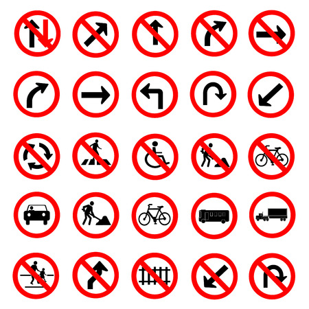 hexahedral: Vector illustration of circle red road signs collection