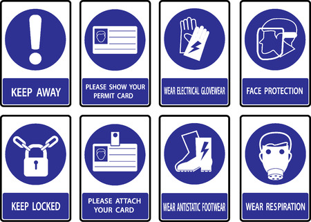 industrialised: Mandatory  signs , Construction health and safety sign used in industrial applications.