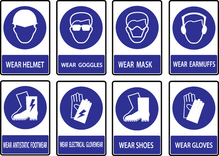 regulatory: Mandatory  signs , Construction health and safety sign used in industrial applications.