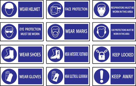 safety equipment: Mandatory  signs , Construction health and safety sign used in industrial applications.