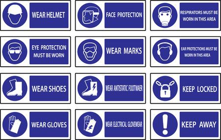 señales de seguridad: Señales de obligación, de salud y de las señales de seguridad de construcción utilizado en aplicaciones industriales. Vectores