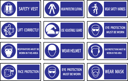 industrial danger: Mandatory  signs , Construction health and safety sign used in industrial applications.
