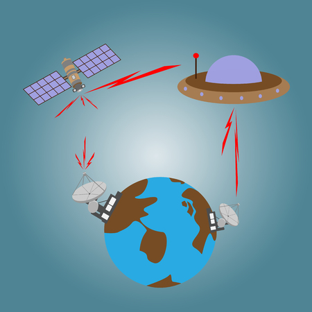 transmit: Satellite and UFO transmit signal from space to satellite dish on earth Illustration
