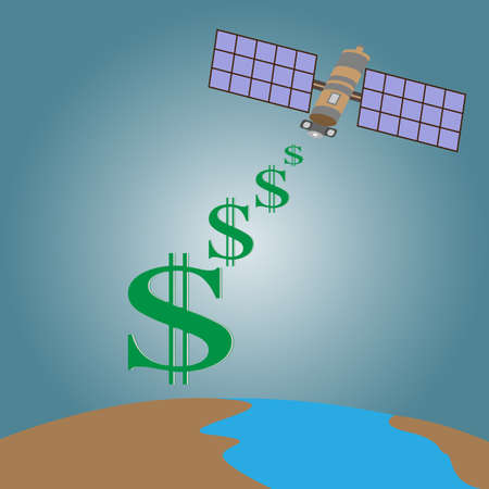 transmit: Satellite transmit signal from space  to  earth with dollars sign