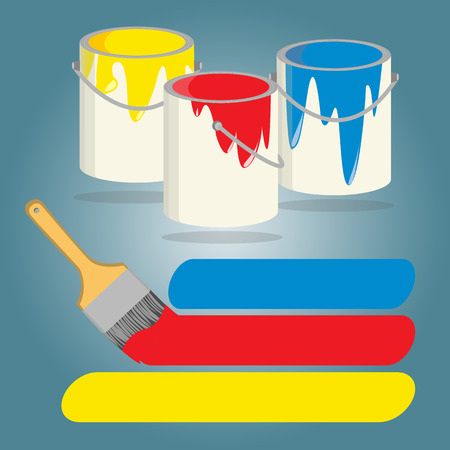 Three buckets of paint with yellow,red and blue paint, Vector illustration. Vector