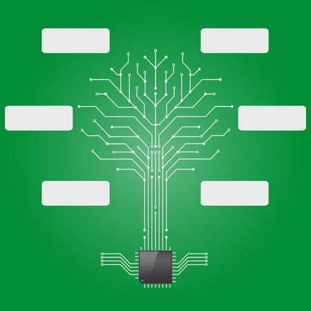 Circuit board pattern in the shape of the tree with chip processor root. Vector