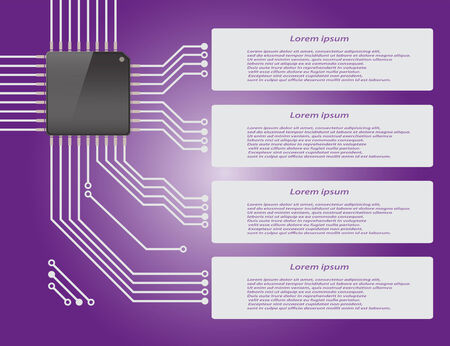 micro chip: Electronics circuit board purple background with micro chip Infographics