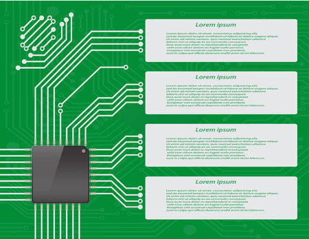 micro chip: Electronics circuit board purple with micro chip Infographics