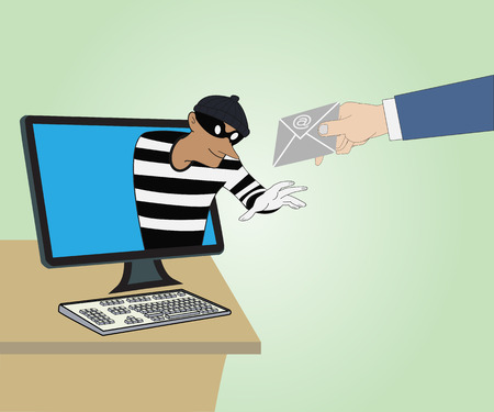 Thief through the Internet from computer and Hand hold mail Vector