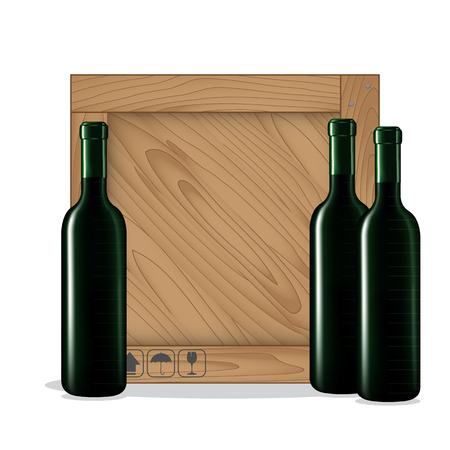 Bottles of wine  and Wooden box on white background. Vector illustration Vector