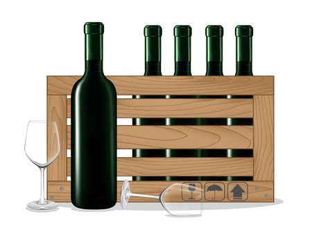 wooden box: Bottles of wine in wooden box and glass wine on white background. Vector illustration