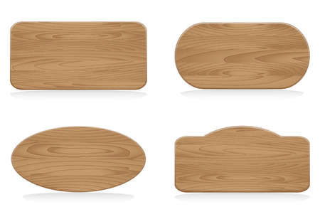 Set of shapes wooden sign boards,Collection of various empty wooden sign, Vector illustration Vector