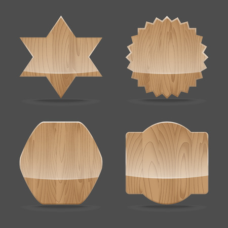 Set of wooden sign boards with glossy.  Vector