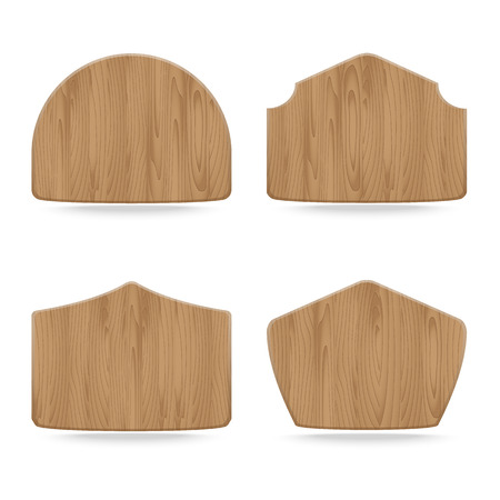 Shapes wooden sign boards,Collection of  empty wooden sign. Vector