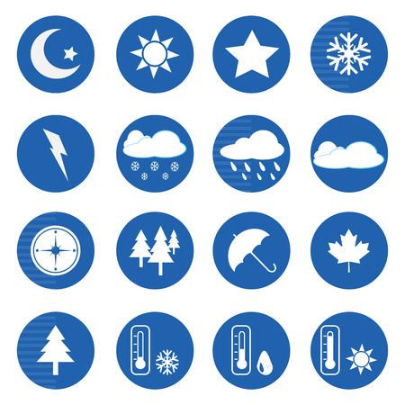 Weather icons set over blue on white background. Vector