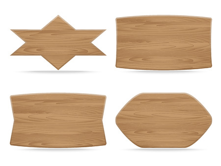 Set of shapes wooden sign boards.  Vector