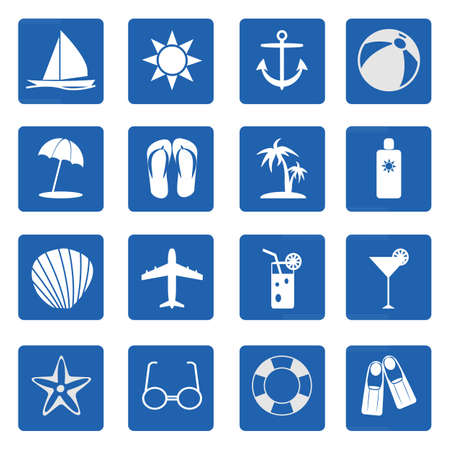 Summer and beach icons over blue on white background.  Vector