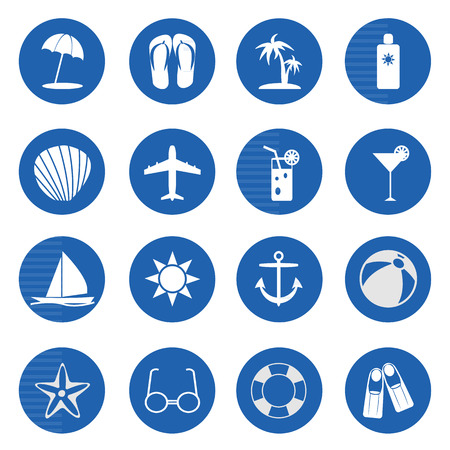 sun block: Summer and beach icons over blue on white background. Illustration