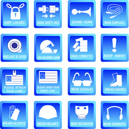 directives: Mandatory signs button, Construction health and safety sign used in industrial applications. Stock Photo