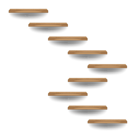 Wood stairs on white wall in interior, Vector illustration Vector