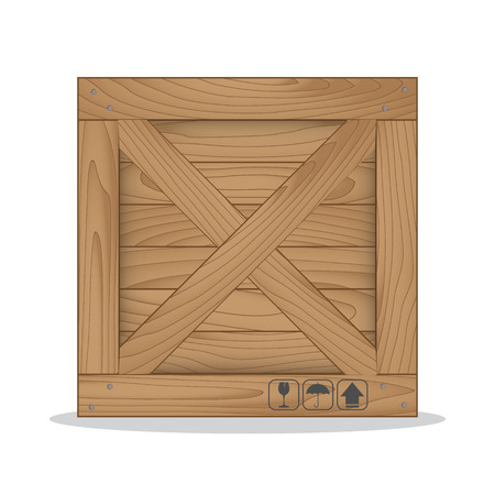 Wooden box and fragile symbol on white background. Vector illustration