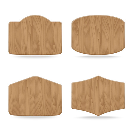 Shapes wooden sign boards,Collection of  empty wooden sign, Vector illustration Vector