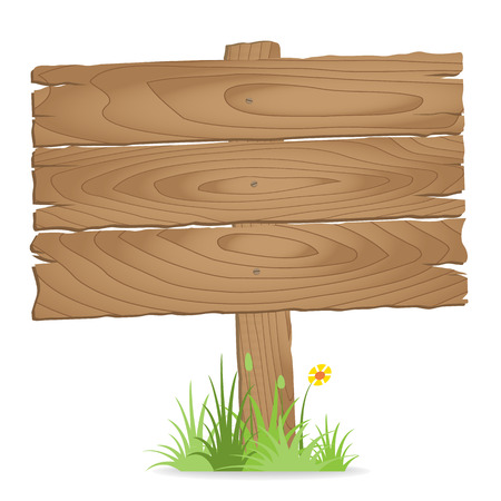 Wooden signpost on  grass with flower. vector illustration