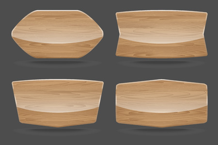Set of wooden sign boards with glossy. Vector illustration Vector