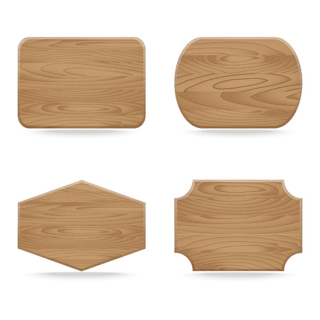 Set of shapes wooden sign boards. Vector illustration Vector