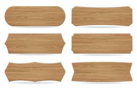 wood plank: Set of 6 shapes wooden sign boards. Vector illustration