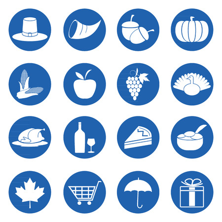 Thanksgiving day symbols icons set, Vector illustration Vector