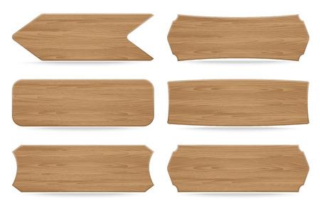 Set of 6 shapes wooden sign boards. Vector illustration