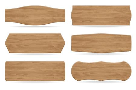 drewno: Zestaw 6 kształtów drewnianych szyldach. Ilustracji wektorowych