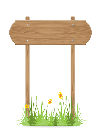 Wooden signpost on grass with flower isolated on white. vector illustration Vector