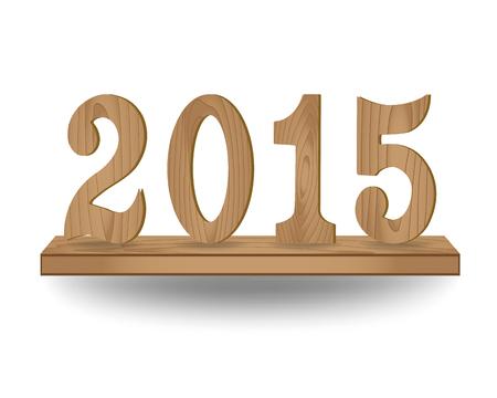interior shelving: 2015 wooden type on wood shelf, Vector illustration